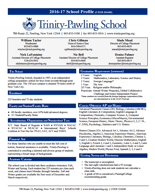 Trinity-Pawling Secondary School Profile